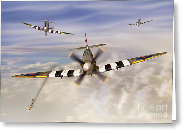 Airoplane Greeting Cards - D-Day Greeting Card by Linton Hart