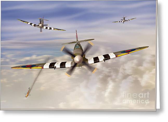 D-day Spitfires Greeting Card by Linton Hart