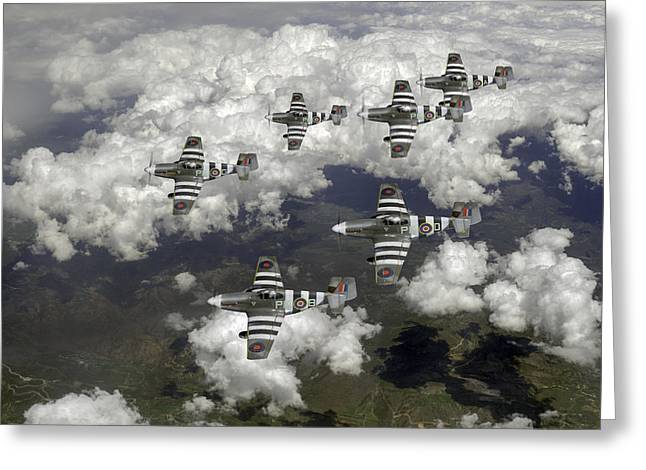 Polish American Digital Greeting Cards - D-Day Mustangs Greeting Card by Gary Eason