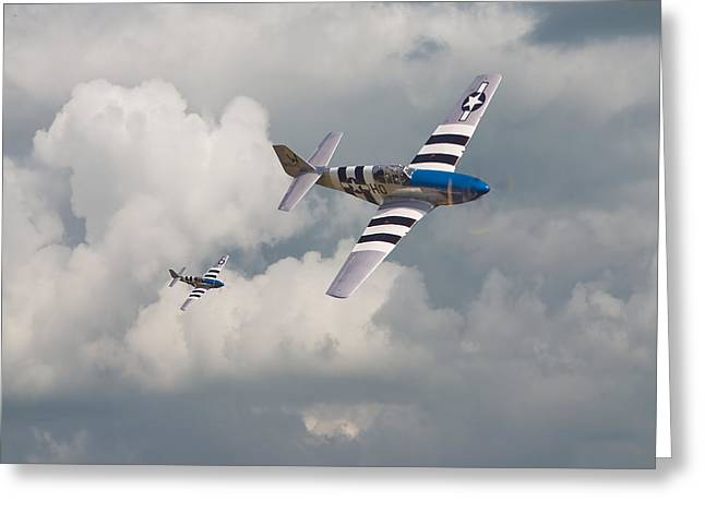Fighter Aircraft Greeting Cards - D-Day Mustangs Greeting Card by Pat Speirs