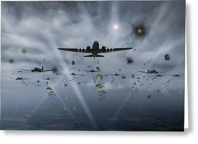 D-day Paratroop Dakotas Greeting Card by Gary Eason
