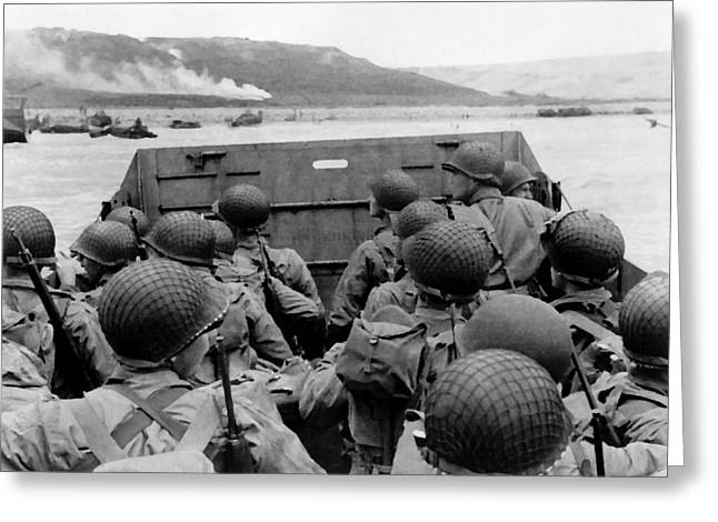 Ww2 Greeting Cards - D-Day Soldiers In A Higgins Boat  Greeting Card by War Is Hell Store