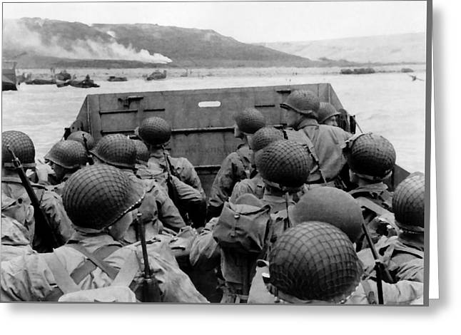 Beach Photos Digital Greeting Cards - D-Day Soldiers In A Higgins Boat  Greeting Card by War Is Hell Store