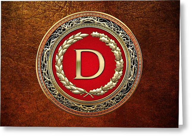Cadeau Greeting Cards - D - Gold Vintage Monogram on Brown Leather Greeting Card by Serge Averbukh