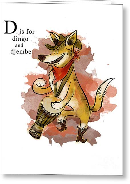 Animal Alphabet Greeting Cards - D is for Dingo Greeting Card by Sean Hagan