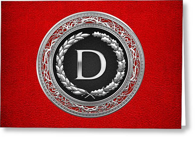 Cadeau Greeting Cards - D - Silver Vintage Monogram on Red Leather Greeting Card by Serge Averbukh