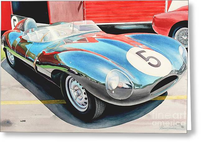 Jaguar Art Greeting Cards - D Type Greeting Card by Robert Hooper