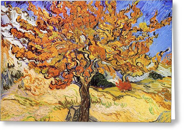 Beautiful Scenery Greeting Cards - Mulberry Tree Greeting Card by Celestial Images