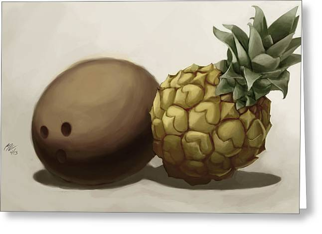 Sell Art Online Greeting Cards - Da Pinepple with Cocoanut  Greeting Card by Christopher Evans