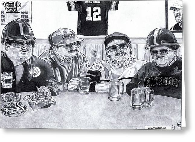 Steelers Drawings Greeting Cards - Da Steelers Greeting Card by Jonathan Tooley