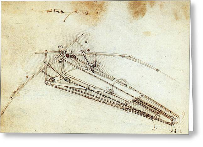 1485 Greeting Cards - Da Vinci Flying Machine 1485 Greeting Card by Science Source