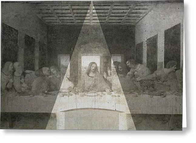 Last Supper Greeting Cards - Da Vinci Last Supper revisited Greeting Card by Filippo B