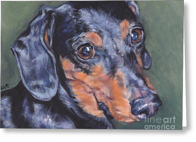 Black And Tan Dachshund Greeting Cards - Dachschund  Greeting Card by Lee Ann Shepard