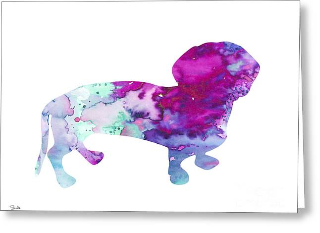 Silhouette Art Greeting Cards - Dachshund 2 Greeting Card by Luke and Slavi