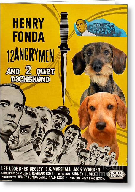 Hotdogs Greeting Cards - Dachshund Art Canvas Print - 12 Angry Men Movie Poster Greeting Card by Sandra Sij