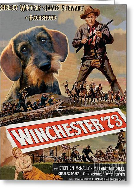 Hotdogs Greeting Cards - Dachshund Art Canvas Print - Winchester 73 Movie Poster Greeting Card by Sandra Sij