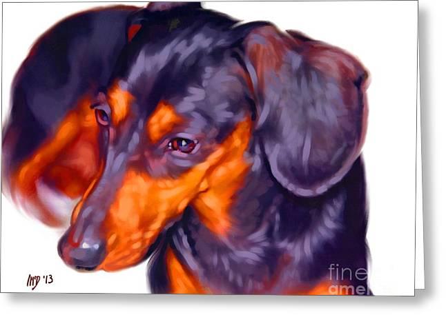 Dachshund Puppy Digital Art Greeting Cards - Dachshund Art Greeting Card by Iain McDonald