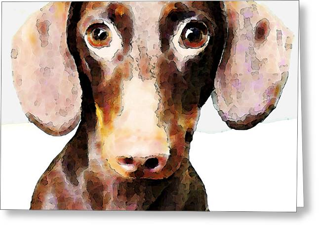 Rescued Animals Greeting Cards - Dachshund Art - Roxie Doxie Greeting Card by Sharon Cummings
