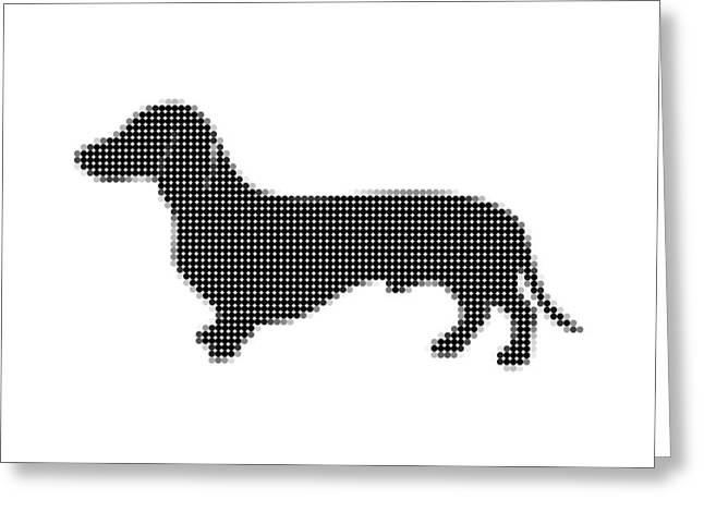 Dachshund Digital Greeting Cards - Dachshund - Dot Portrait Greeting Card by Agus Shodikin