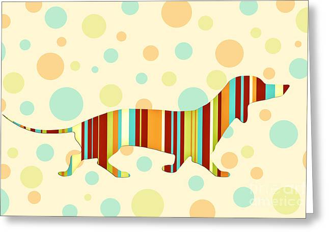 Dachshund Digital Greeting Cards - Dachshund Fun Colorful Abstract Greeting Card by Natalie Kinnear