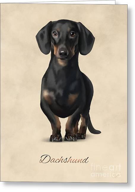 Dachshund Puppy Digital Art Greeting Cards - Dachshund Greeting Card by Gosia K