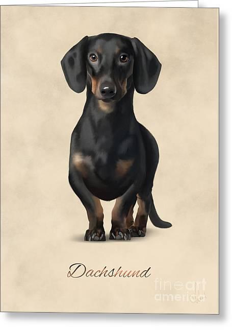 Puppies Digital Greeting Cards - Dachshund Greeting Card by Gosia K