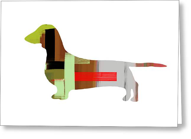 Pets Mixed Media Greeting Cards - Dachshund Greeting Card by Naxart Studio