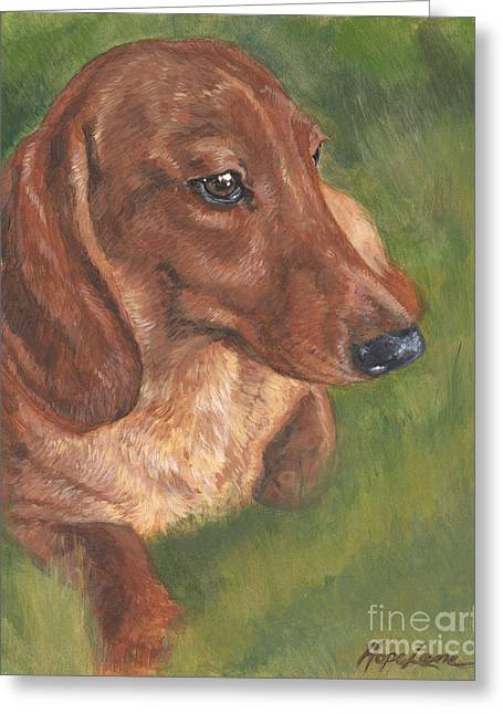 Print On Canvas Greeting Cards - Dachshund Love Greeting Card by Hope Lane