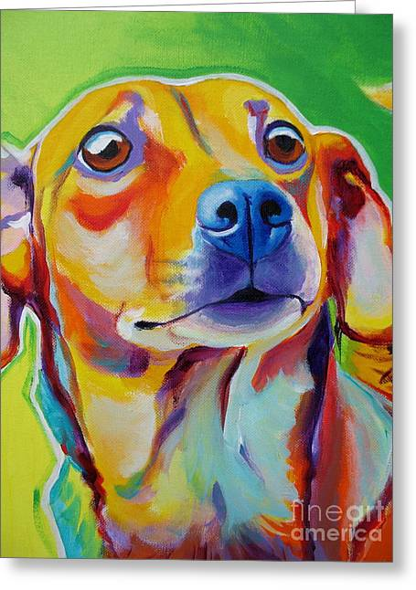 Alicia Vannoy Call Paintings Greeting Cards - Chiweenie - Little Dog Greeting Card by Alicia VanNoy Call