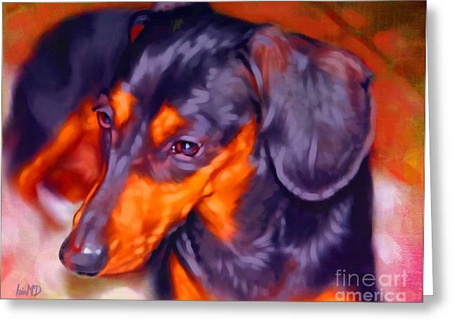Dachshund Puppy Digital Art Greeting Cards - Dachshund Portrait Greeting Card by Iain McDonald