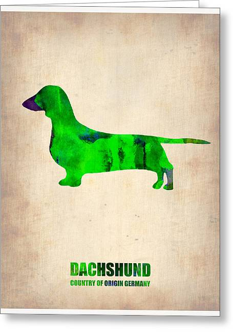 Puppy Digital Greeting Cards - Dachshund Poster 1 Greeting Card by Naxart Studio