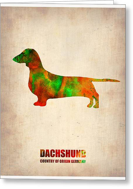 Puppies Digital Art Greeting Cards - Dachshund Poster 2 Greeting Card by Naxart Studio