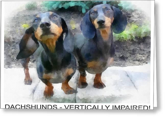 Black And Tan Dachshund Greeting Cards - Dachshund Poster Greeting Card by Betsy Cotton
