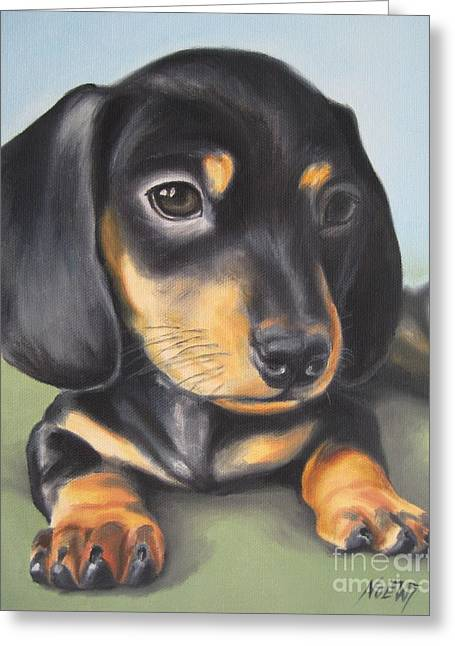Dachshund Puppy Greeting Card by Jindra Noewi