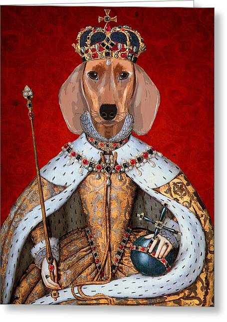 Canine Posters Greeting Cards - Dachshund Queen Greeting Card by Kelly McLaughlan