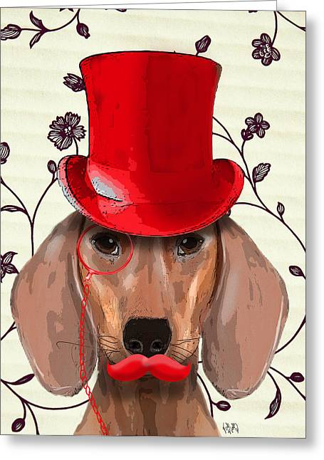 Canine Posters Greeting Cards - Dachshund Red Hat and Moustache Greeting Card by Kelly McLaughlan