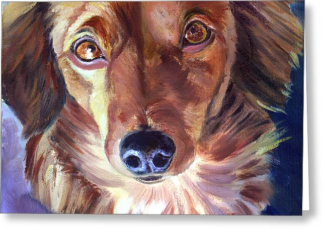 Doxie Greeting Cards - Dachshund Sparkle Eyes Greeting Card by Lyn Cook