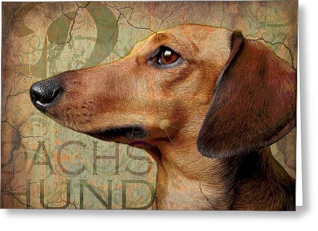 Dachshund Art Digital Art Greeting Cards - Dachshund Greeting Card by Wendy Presseisen