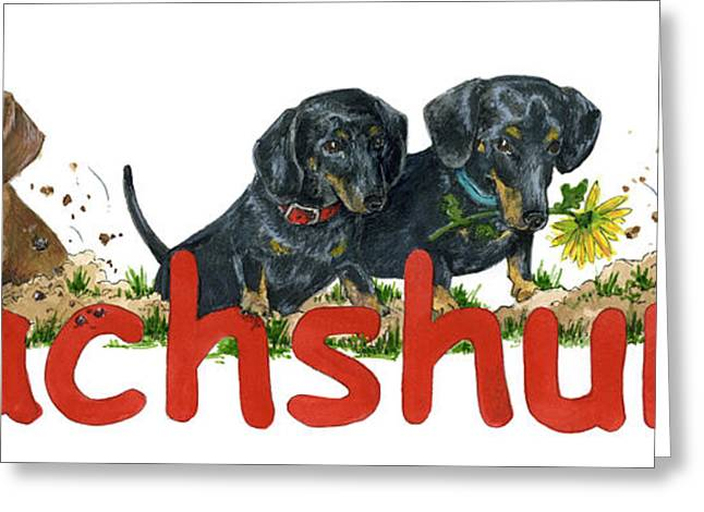 Black And Tan Dachshund Greeting Cards - Dachshunds Greeting Card by Terry Albert