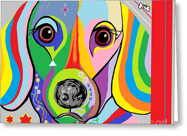 Puppy Digital Art Greeting Cards - Dachsund Greeting Card by Eloise Schneider