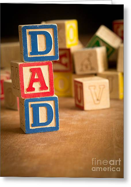 Wooden Alphabet Blocks Greeting Cards - DAD - Alphabet Blocks Greeting Card by Edward Fielding