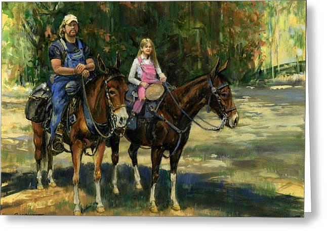 Trail Ride Greeting Cards - Dad and Daughter on Gatied Mules Greeting Card by Don  Langeneckert