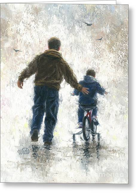 Vickie Wade Paintings Greeting Cards - Dad and Me First Bike Ride Greeting Card by Vickie Wade