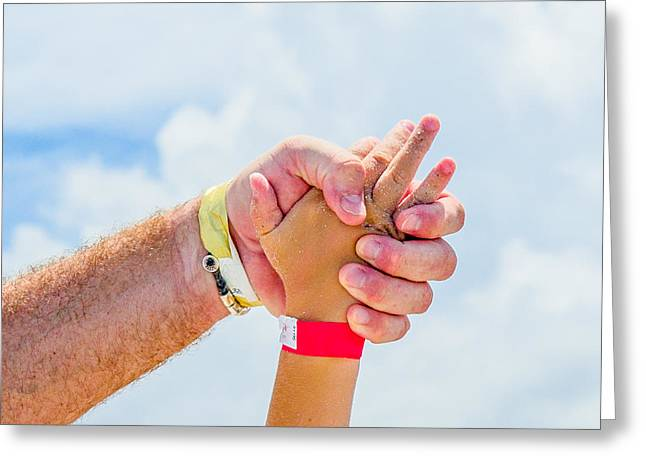 Armband Greeting Cards - Dad holding sons hand on the beach Greeting Card by Robert Neff