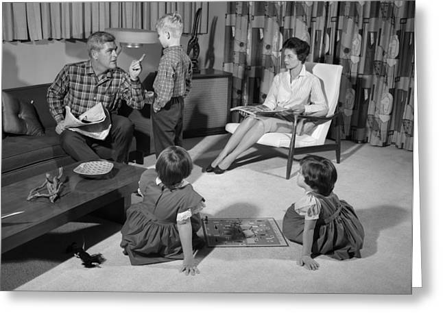 Dad Lecturing Boy As Family Looks On Greeting Card by H. Armstrong Roberts/ClassicStock