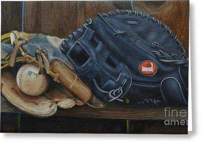 Softball Mitt Greeting Cards - Lets play catch Greeting Card by Ralph Taeger