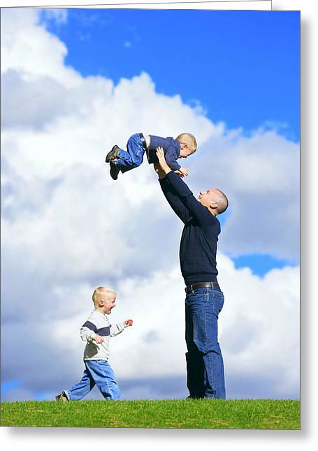 Special Moment Greeting Cards - Dad With Sons Greeting Card by Don Hammond