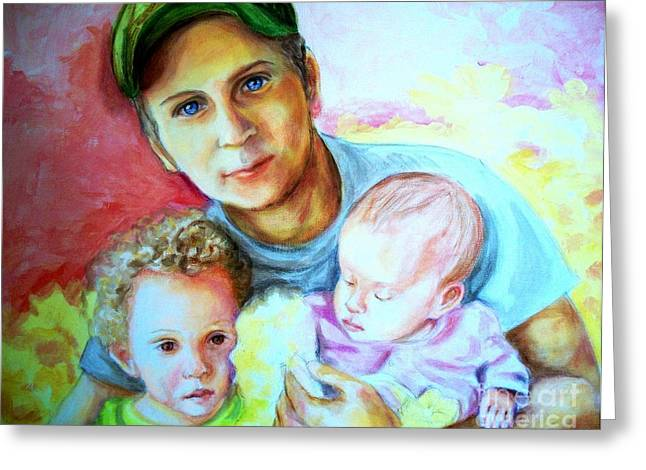 Baseball Pastels Greeting Cards - Daddy Greeting Card by Em Scott