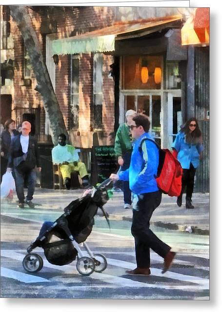 Daddy Pushing Stroller Greenwich Village Greeting Card by Susan Savad