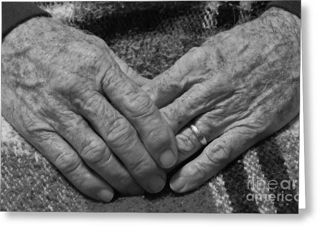 Rings On Fingers Greeting Cards - Daddys Hands Greeting Card by D Hackett